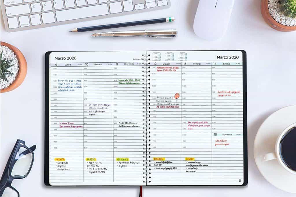 Agenda per la pianificazione settimanale