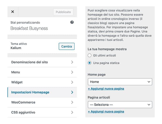 Come impostare l'homepage del tuo blog