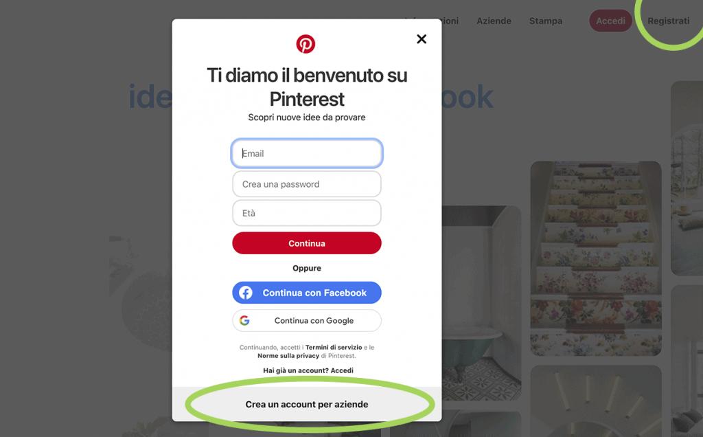 Come aprire un account Pinterest business per aziende
