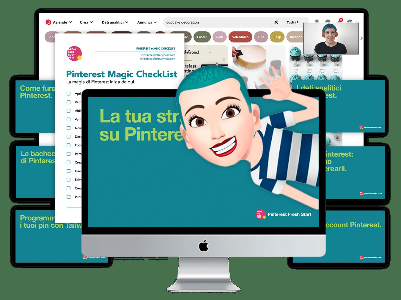 Mockup del corso Pinterest Fresh Start, corso base di Pinterest in italiano